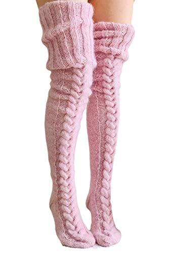 Loalirando Damen Overknee Strümpfe Lange Kniestrümpfe Teenager Schüler Überknie Strick Socken (Hellrosa, One Size)