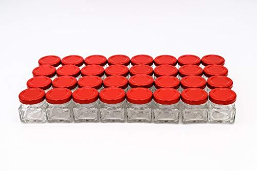 Flaschenbauer - 32 Mini Einmachgläser klein 40 ml Vierkant Gläser mit Schraubverschluss to 43 rot - Mini Gläser mit Deckel perfekt als Mini Marmeladengläser klein, Honiggläser Mini