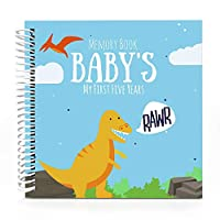 Baby's First Five Years Memory Book With 12 Milestone Stickers, Dinosaur Edition by Unconditional Rosie