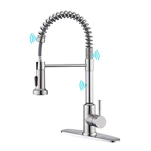 Touch Kitchen Faucet with Pull Down Sprayer, ARRISEA Touch Activated Sink Faucets in Updated Leakproof Design, Lead-Free Brushed Nickel Stainless Steel Faucets for Bar/Prep/Laundry Utility Sinks