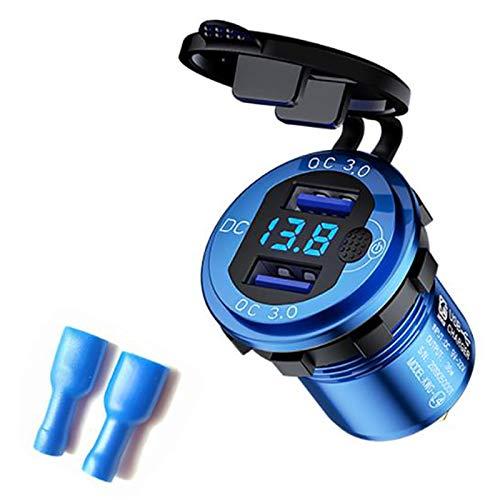 Semoic Carga Rapida Cargador de Coche con Doble USB 3.0 con VoltíMetro e Interruptor, Cargador de Salida de 36 W y 12 V para Coche Barco CamióN Marino ATV, Azul