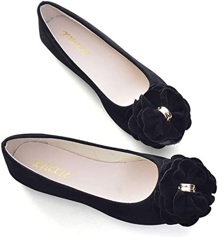 VFDB Women's Fashion Special price for a limited time Faux Suede Floral Slip Poi On Flats Ballets Cheap bargain