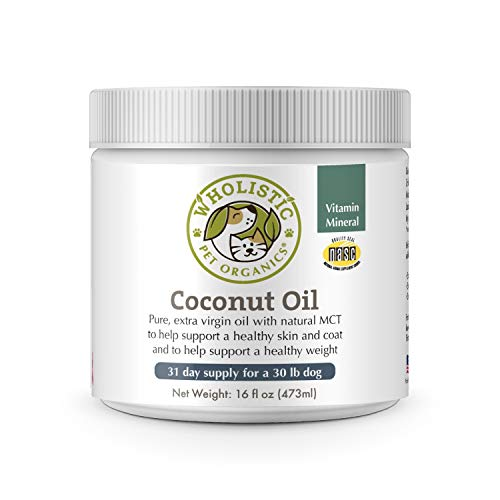 Wholistic Pet Organics Coconut Oil: Certified Organic Dog Coconut Oil - Natural Dry Skin Moisturizer for Dog Itch Relief and Skin Allergy Treatment - Immune and Digestive Support for Dogs - 16 Oz