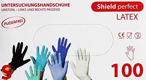 "100x Latexhandschuhe puderfrei""Shield perfect"" weiss Größe M Handschuhe Einweghandschuhe Einmalhandschuhe (M)"