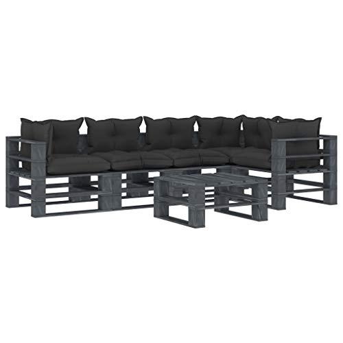 FAMIROSA Set Muebles de palés para jardín 6 Piezas Madera Cojines Negros (126,4kg)-2503