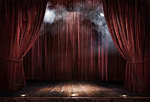 YongFoto 3x2m Vinyl Bühne Foto Hintergrund Brauner Vorhang Holzboden Rauchig Scheinwerfer Magische Theaterbühne zum Party Veranstaltung Fotografie Video Hintergrund Studio Requisiten Tapete