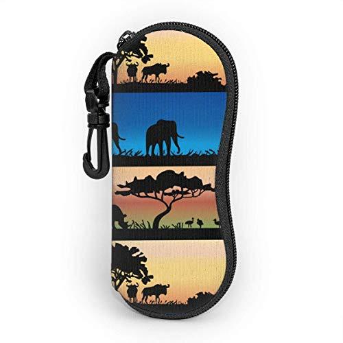 Funda suave con cremallera para gafas de sol con pasto africano, con clip para cinturón