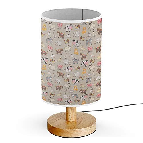ARTSYLAMP - Wood Base Decoration Desk Table Bedside Light Lamp [ Farm Animals ]