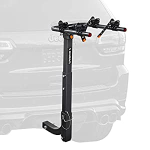 """IKURAM 2 Bike Rack Bicycle Carrier Racks Hitch Mount Double Foldable Rack for Cars, Trucks, SUV's and minivans with a 2"""" Hitch Receiver"""