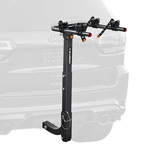 """IKURAM R 2 Bike Rack Bicycle Carrier Racks Hitch Mount Double Foldable Rack for Cars, Trucks, SUV's and minivans with a 2"""" Hitch Receiver"""