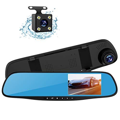 Cámara DVR de vídeo de visión trasera y espejo de coche con doble lente 1080p, de 4,3 pulgadas, con cámara de visión trasera