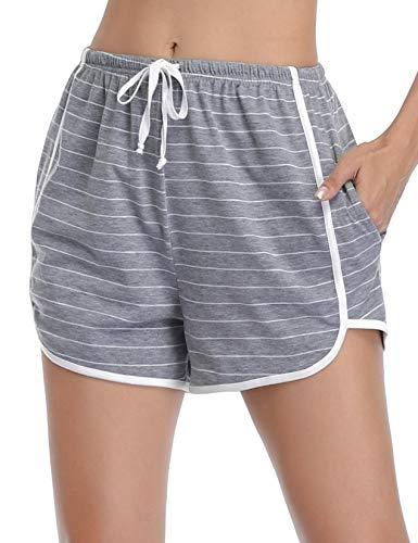 Abollria Damen Shorts Schlafanzughose Kurz Schlafhose Kurze Sporthose Baumwolle Pyjamahose Kurz Hosen Yoga Running Gym Beiläufige Elastische (Graue Streifen, M)