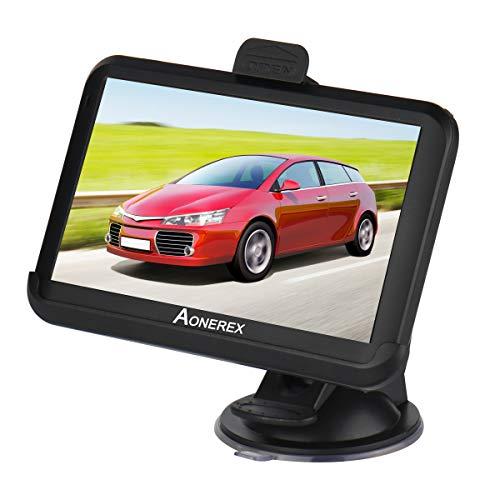 Aonerex Navigation für Auto LKW PKW KFZ 5 Zoll Touchscreen GPS Navi 8 GB 256 MB Navigationsgerät mit 2020 Europa Karte Lebenslang kostenlos Kartenupdate