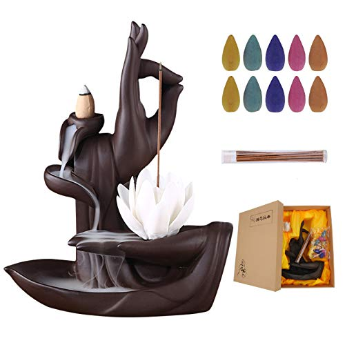 Eilsorrn Lotus Waterfall Incense Burner Buddha backflow Incense Holder with 20 Incense Cones, 30 Incense Sticks for Home Office Decor, Family and Friends Gifts, Ceramic