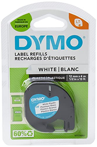 Dymo LetraTag Etiquetado 12mm x 4m de cinta de plástico - Negro sobre blanco (Blister)