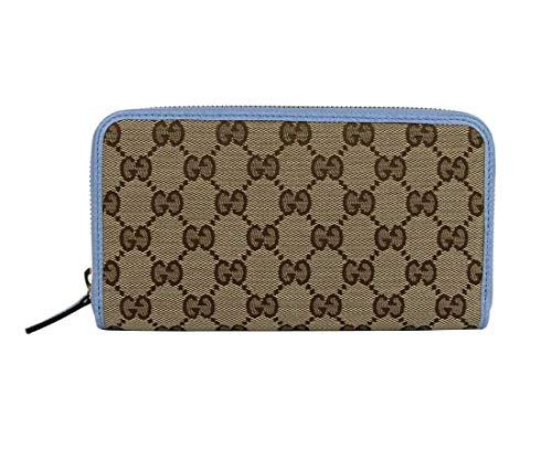 Gucci Damen Geldbörse Beige Original GG Canvas Blau Lederbesatz Reißverschluss rund 363423 8611