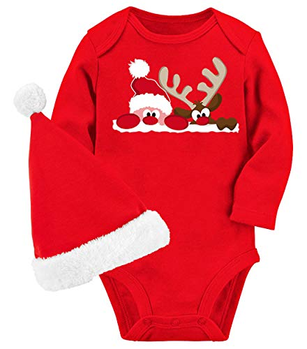 UNICOMIDEA 6-9 Months Baby Boys Christmas Onesies Baby Girl Funny Clothes Santa Claus Newborn Unisex Baby Bodysuit Long Sleeves Warm Infant Winter Clothes with Hat