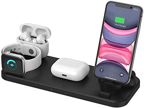 Cargador inalámbrico Plegable 3 en 1 10W MAX Estación de Carga rápida inalámbrica con certificación Qi para iPhone 12/12 Mini / 12 Pro / 12 Pro MAX/SE / 11 / XR/XS/X / 8 Galaxy S20 / S10 Ap