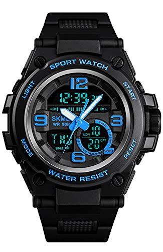 Digital Herren Uhren Wasserdicht Militär Schwarz Uhr Analog Digital Sportuhr Chronograph/LED/Alarm/Kalender Armbanduhr für Jungen
