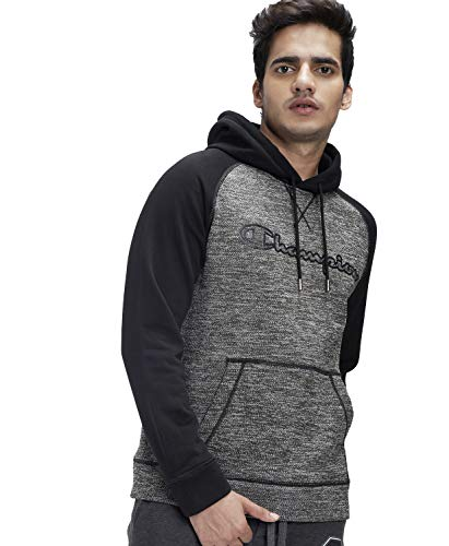 Champion Men's Poly Cotton Hooded Sweatshirt (1002462603BLACK_L_Black_Large)