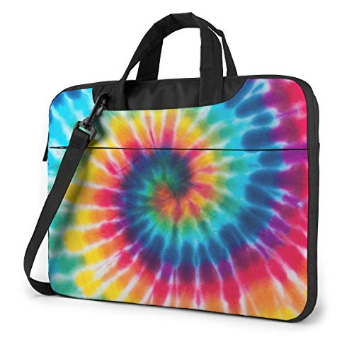 Laptop Bag 15.6 Inch Laptop Sleeve Case with Shoulder Straps & Handle/Notebook Computer Case Briefcase Compatible with MacBook/Acer/Asus/Hp - Spiral Tie Dye