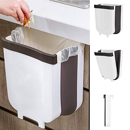 Cubos de Basura Plegable Contenedor de Basura Colgante de Pared Basurero Extraible para Dormitorio Cocina Coche Baño Oficina