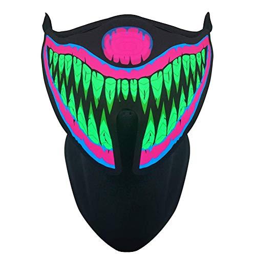 Mallalah Máscara de música LED, máscara reactiva de Sonido para la música en Festivales y Fiestas (F)