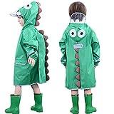 OldPAPA Chubasquero para Niños y Niñas, Impermeable Rain Capucha 3D Dinosaurio Impermeable Poncho