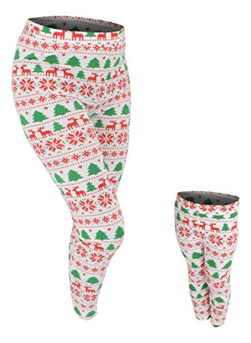 Unique Baby UB Girls Mommy and Me Winter Print Christmas Leggings (7) Green