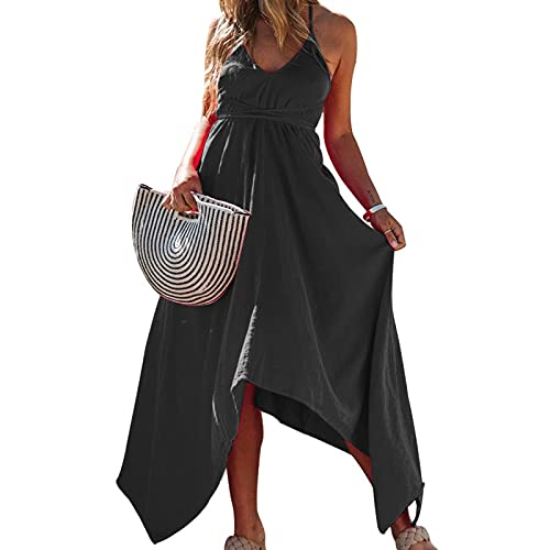 SLYZ 2021 Verano Color Sólido Cuello En V Halter Encaje Irregular Vestido Mujer