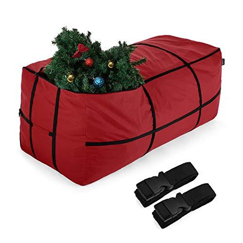 Sunkorto Bolsa Organizadora para Árbol de Navidad, Funda Grande Guardar Árboles Navideños Adornos Festivos Contenedor de Almacenamiento 600D Tela Oxford Duradero con Asa, Rectangular Rojo 2,1m Arbol