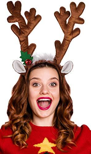 Rentier / Elch Geweih BZW. Haarreif - das perfekte Accessoire für Erwachsene & Kinder zu Weihnachten oder zum Karneval oder Fasching (Braun)