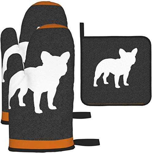 Oven Mitts and Pot Holders 3pcs Set,French Bulldog Silhouette Frenchie Dog Kitchen Oven Glove and Pot Holders Non-Slip Kitchen Gloves for Cooking Baking Grilling