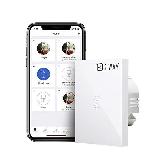 Interruptor de Pared Táctil Wi-Fi, 2 Vía, 1 Canal, Compatible con Alexa, Asistente de Google y SmartThings, 2,4 GHz. (Se Requiere un Cable Neutral)