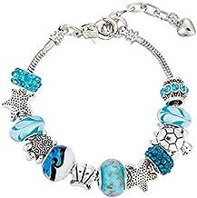 Zircon Pendant Bracelets Ocean series Blue crystal/Glass Bead Starfish Shell Bracelet Pandora Elements Bracelet Valentines Gift