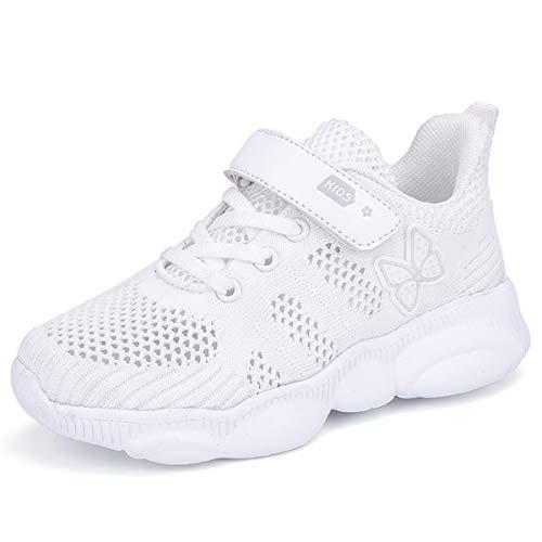 Turnschuhe Kinder Sneaker Jungen Sportschuhe Mädchen Hallenschuhe Outdoor Laufschuhe für Unisex-Kinder (35 EU, 953-Weiß)
