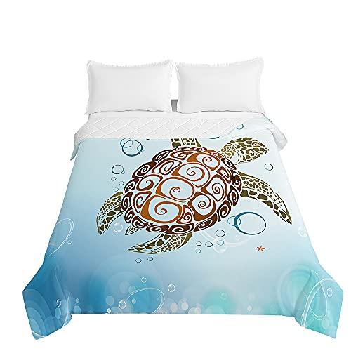 Surwin Tagesdecke Bettüberwurf Steppdecke für Doppelbett Einzelbett, Mikrofaser Schildkröte Wattiert Gesteppt Bettdecke Sommer Dünne Tagesdecken mit Ultraschall genäht (Schildkröte,220 * 240cm)
