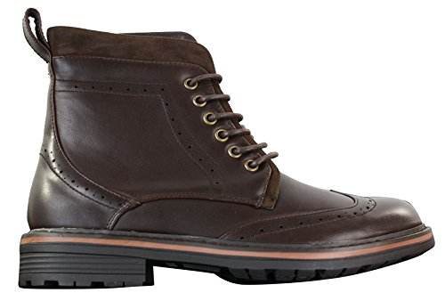 Bottines homme en marron ou noir simili cuir ou daim avec lacets style cowboy tendance décontracté
