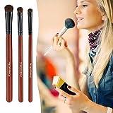 3 Pure Horse Hair Eye Makeup Brush Smoky Makeup Eye Shadow Brush Set Herramientas de belleza-Palisandro
