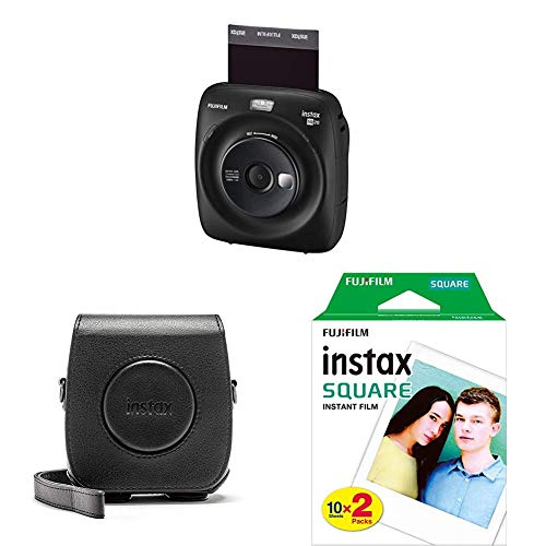 Fujifilm Instax SQUARE SQ 20 Hybride Sofortbildkamera, schwarz + Mini 90 Schutzhülle aus PU-Leder ohne Gurt + Square WW2 Colorfilm klar (Starterset)