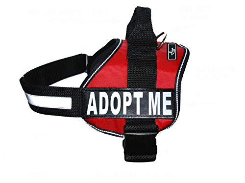 ADPOT ME Nylon Dog Vest Harness. Purchase Comes with 2 Reflective Removable Adopt ME Patches