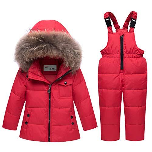 JinBei Niña Chaqueta de Esquí Invierno Conjuntos de Ropa Impermeable Nieve Traje de Nieve Plumón Abrigo con Chaqueta con Capucha + Pantalón de Esquí 2 Piezas Rojo 4-5 años