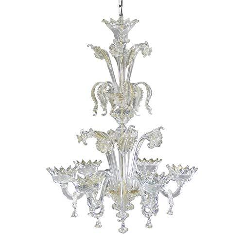 Lustre en verre de Murano, grand à 6 lumières en or, Murano Big Gold chandelier