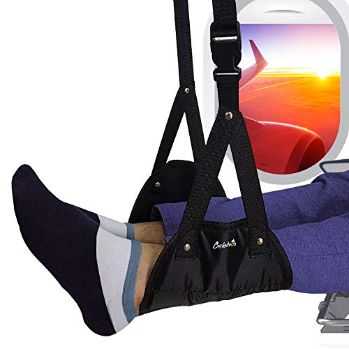Airplane Footrest Foot Hammock, Portable Airplane Foot Rest Hammock, Airplane Travel Accessories Usable for Plane/Office/Home Legs Hammock with Adjustable Height