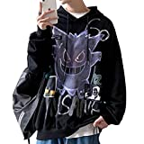 Yearinspace Unisex Hoodie and Sweatshirt Oversized Loose Devil Harajuku Retro Hip Hop L Black