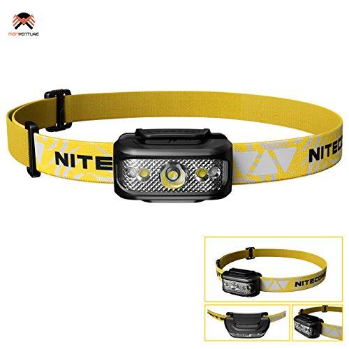 Nitecore NU17 Stirnlampe LED 130 Lumen USB Wiederaufladbar IP66 wasserdichte Weiss & Rotlicht Kopflampe für Laufen Campen Lesen Angeln