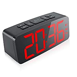 KOOSIN Digital Alarm Clock, 6.3 Large LED Display Digital Alarm Clock with Big Number,6 Level Adjustable Brightness Dimmer and Snooze, Simple LED Clock with Dual Alarm, Powered by AC Adapter (RED)