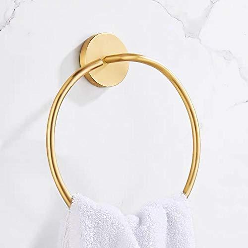 Toallero Toalla de baño de círculo de cobre de oro puro estante de toalla de inodoro cepillado redondo anillo-A