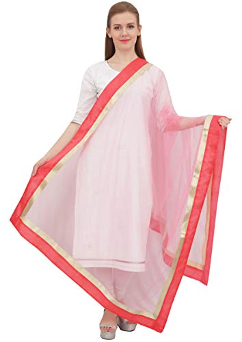 Phagun Indian Designer Net Dupatta lange Stola Frauen Hijab-Schal Einwurf Peach