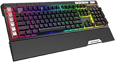 MARVO KG965G RGB Mechanical Gaming Keyboard, 119 Keys Including 10 Macro Keys, Media Control, with Wrist Rest, Blue Switch